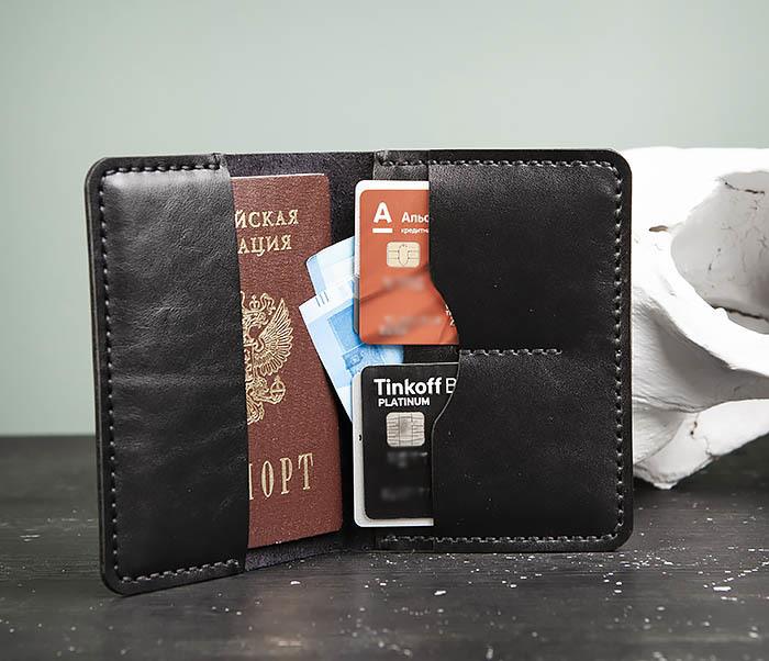WB177-1 Обложка для паспорта из черной натуральной кожи фото 01