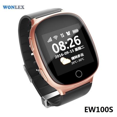 Часы с GPS трекером Smart Baby Watch EW100S (Розовое золото) вид спереди под углом