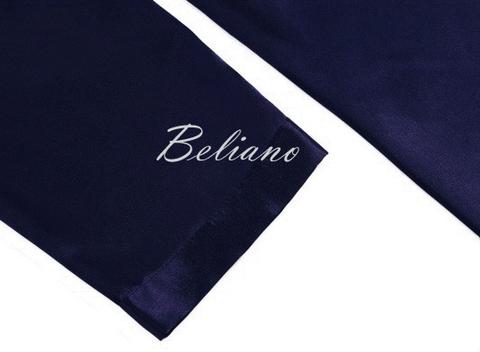 Короткий (за колено) или длинный домашний шелковый мужской халат. Цвет синий