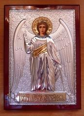 Серебряная с золочением икона Ангела Хранителя 21х15см