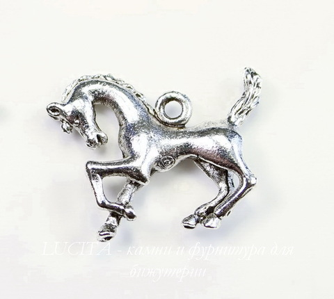 """Подвеска Quest Beads """"Конь"""" (цвет-античное серебро) 21х17 мм"""