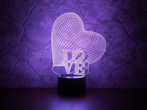 3D светильник Сердце LOVE