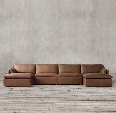 Cloud Slope Arm Modular Leather U-Chaise Sectional