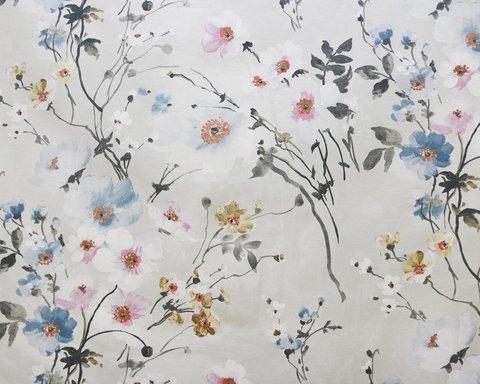 Портьерная хлопковая ткань в английском стиле Грасс синий