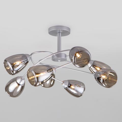 Потолочная люстра со стеклянными плафонами 30168/8 матовое серебро