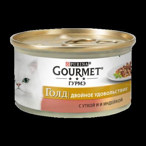 Gourmet Gold Консервы для кошек Двойное удовольствие с Уткой и индейкой