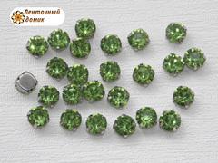 Камни круглые в цапах 8 мм зеленые
