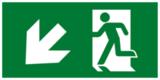 Е33 Направление к эвакуационному выходу налево вниз - современный эвакуационный знак