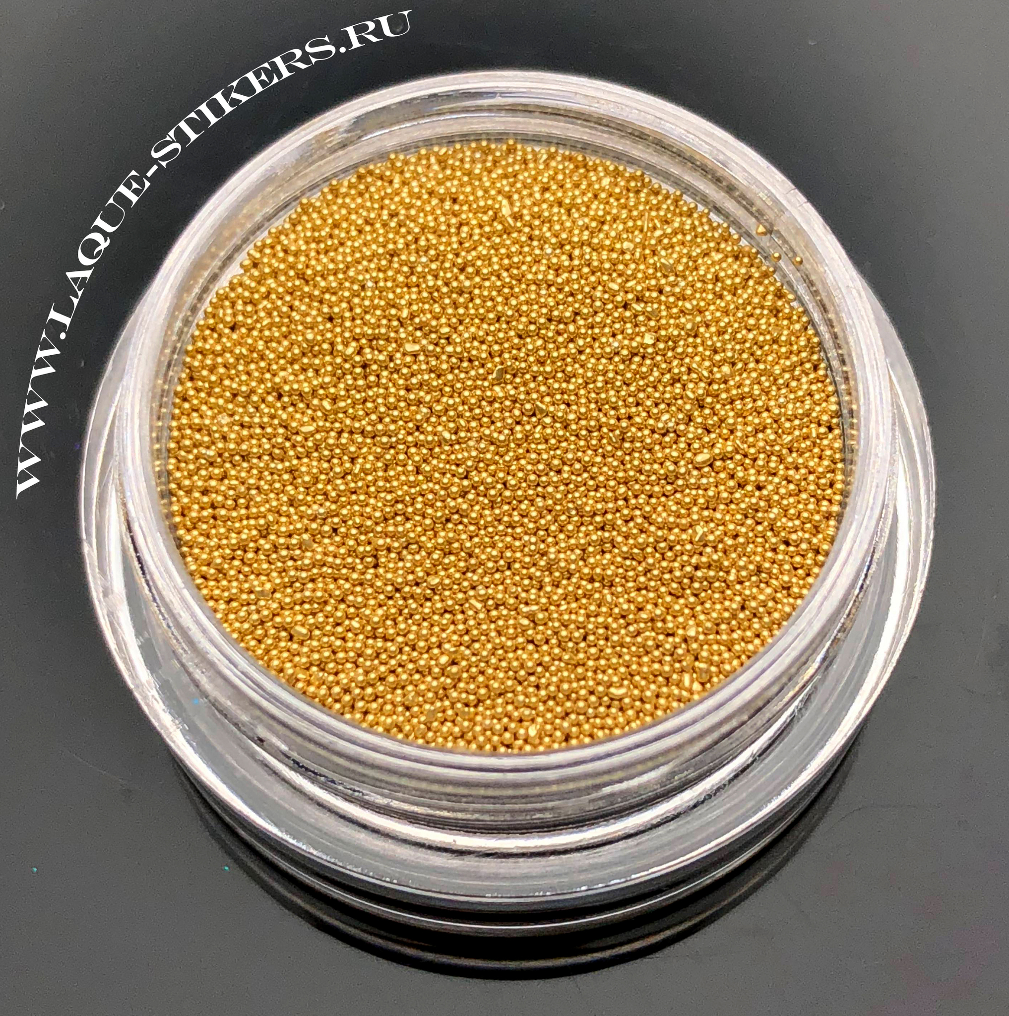 Бульонки стекло золото (размер 0,2 - 0,4 мм) - ЦВЕТ НЕ СТИРАЕТСЯ!!!