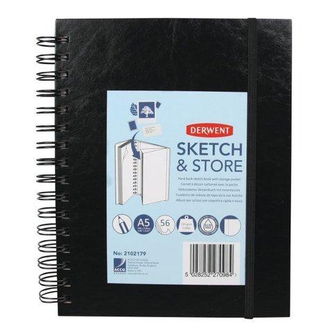 Скетчбук Sketch&Store 165г/кв.м А5 14.8*21см 56л портрет твердая обложка спираль черный