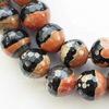 Бусина Агат, шарик с огранкой, цвет - черный с бежево-коричневым, 10 мм, нить