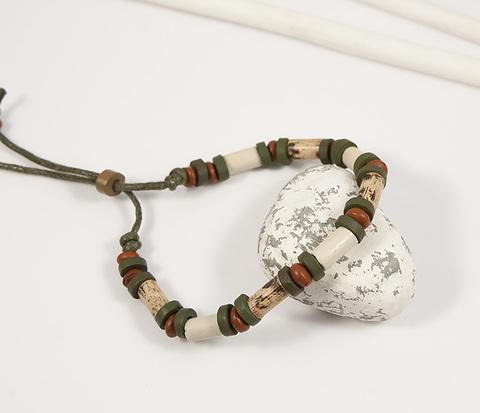 BD159 Оригинальный мужской браслет из разноцветного дерева и камней