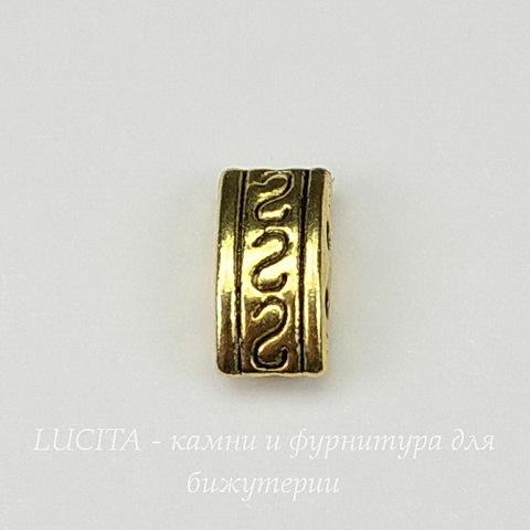 Разделитель на 2 нити (цвет - античное золото) 10х5х4 мм