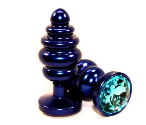 Синяя ребристая пробка с голубым стразом - 7,3 см.