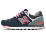 Кроссовки Женские New Balance 574 Premium Navy Blue Grey Coral