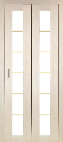 > Экошпон складная Optima Porte Турин 501АСС молдинг SG  (2 полотна), стекло матовое, цвет беленый дуб, остекленная