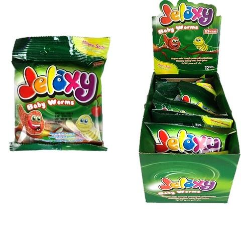 Jelaxy Baby Worms(Червячки в сахаре) Жевательный мармелад  с фруктовым соком 1кор*6бл*12шт,80гр