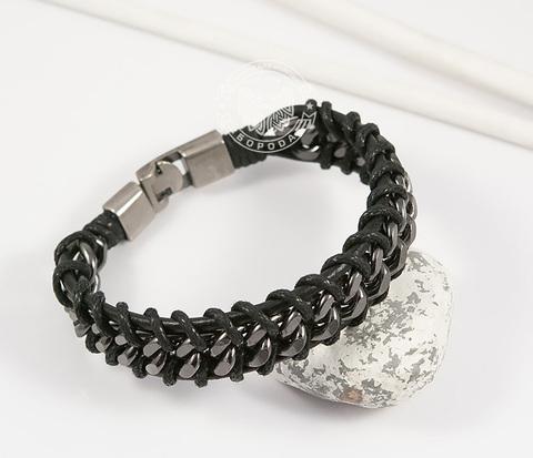BM401 Широкий мужской браслет из кожи и темной стали (22 см)