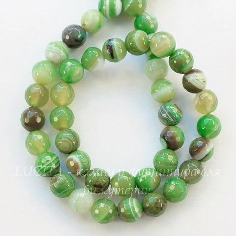 Бусина Агат, шарик с огранкой, цвет - светло-зеленый с белыми полосками, 8 мм, нить