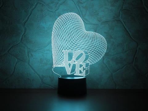 3D лампа Сердце LOVE