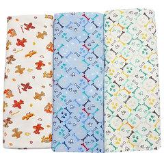 Папитто. Комплект трикотажных пеленок из футера для мальчика 130х90 см, 3 шт.