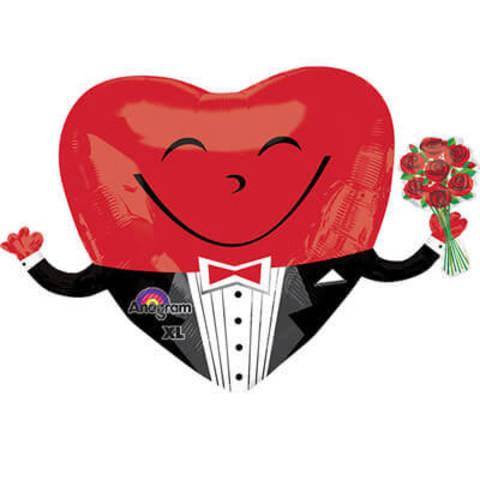 Фигура фольга Сердце с букетом