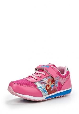 Кроссовки Винкс (Winx) на липучке и шнурках для девочек, цвет розовый, фея Блум. Изображение 2 из 8.