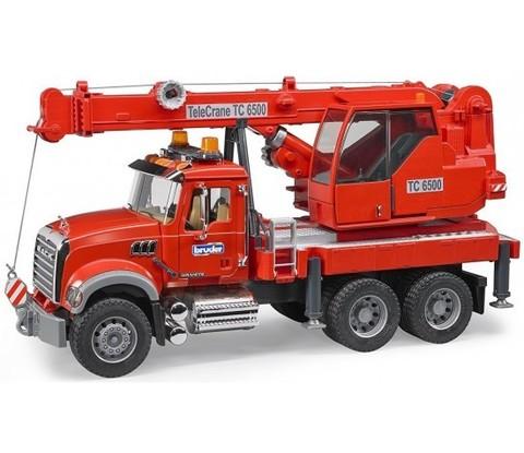 Bruder: Автокран MACK с модулем со световыми и звуковыми эффектами, красный, 02-826 — Брудер