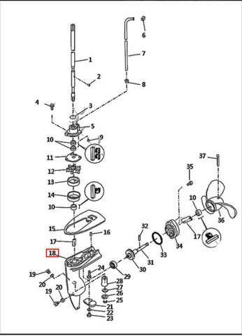 Корпус редуктора  для лодочного мотора T2,5 SEA-PRO (8-18)