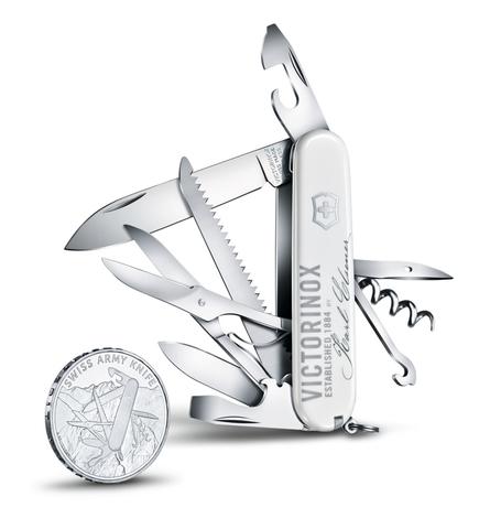 Набор: нож перочинный Huntsman и серебряная монета Victorinox модель 1.1918.J18