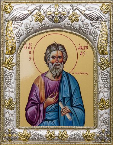 Серебряная икона именная Андрей Первозванный 18x14см