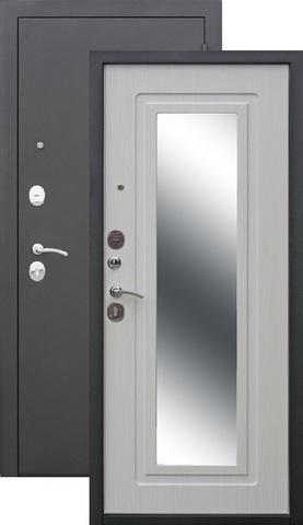 Дверь входная Цитадель Царское Зеркало, 2 замка, 1,2 мм  металл, (чёрный муар+ясень белый)