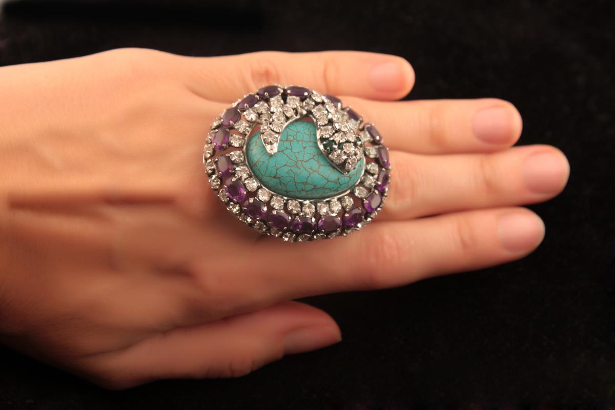 Роскошное кольцо с бирюзой и змеей от C&D Jewelry