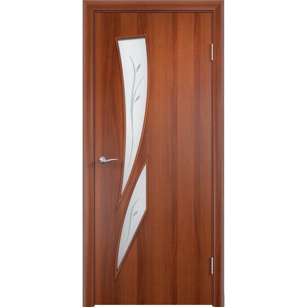 Ламинированные двери Стрелиция итальянский орех со стеклом фьюзинг streliciya-pof-ital-oreh-dvertsov-min.jpg