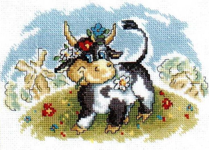 C089 Корова на лугу - набор для вышивания   Кисея ...