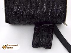 Лента бархатная люрексовая черная ширина 1 см