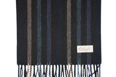 Шерстяной шарф черный полосатый 30361