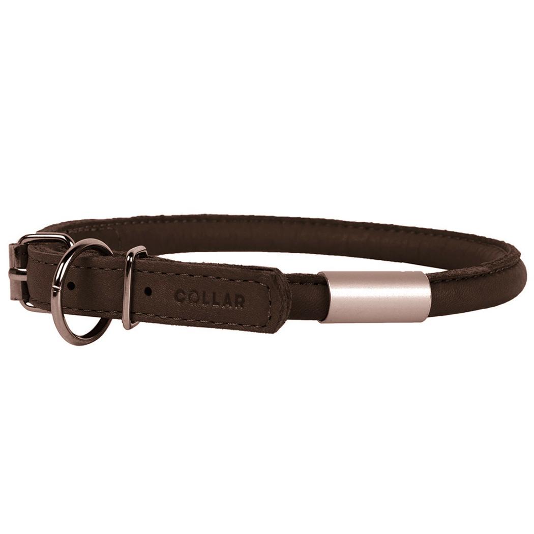 3473 - Круглые кожаные ошейники для собак с адресником