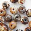 Бусина Агат цветочный, шарик, цвет - бежево-коричневый, 10 мм, нить