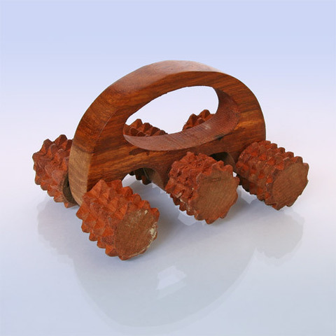 Массажёр деревянный для тела 6 колючих колесиков