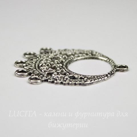 """Коннектор """"Ажурный"""" (1-5) 33х27 мм (цвет - античное серебро)"""