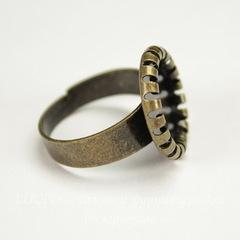 Основа для кольца с сеттингом с круглым краем для кабошона 12 мм (цвет - античная бронза)