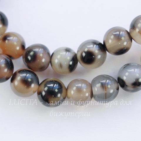 Бусина Агат (тониров), шарик, цвет - черно-бежевый, 8 мм, нить