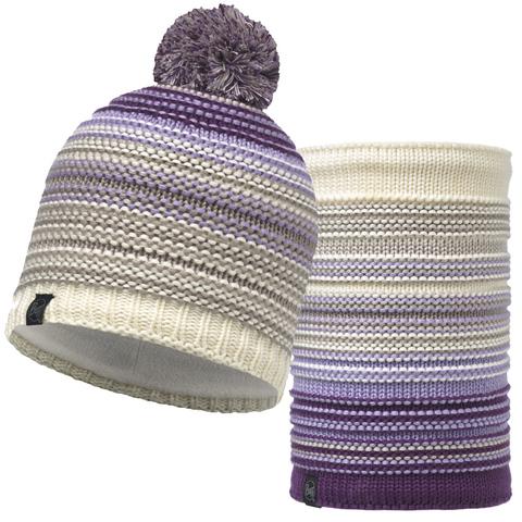 Комплект шапка шарф вязаный с флисом Buff Neper Violet