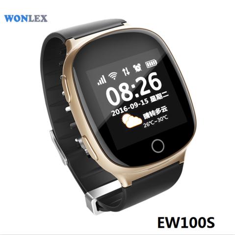 Часы с GPS трекером Smart Baby Watch EW100S (Золотой) вид спереди под углом