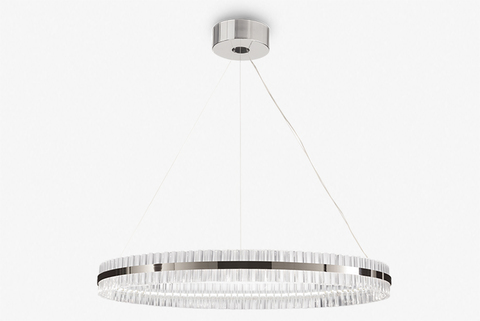 replica Saturno LED 1 ring chrome Pendant by Baroncelli