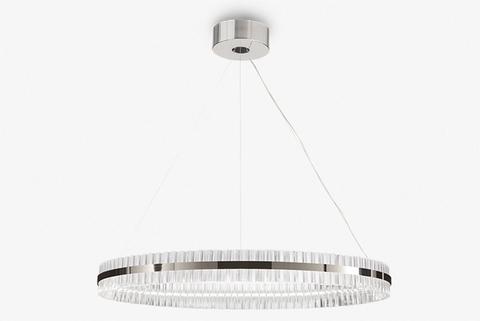 replica Saturno LED 1 ring chrome Pendant by Baroncelli
