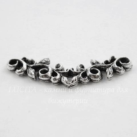 """Коннектор Quest Beads """"Листья"""" 26х9 мм (цвет-античное серебро)"""