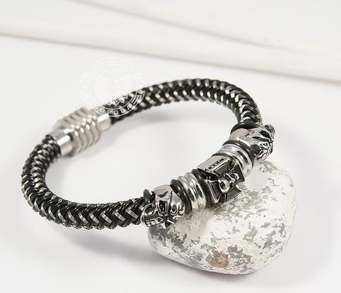 BM405 Оригинальный мужской браслет с черепами из стали и каучука (20 см)