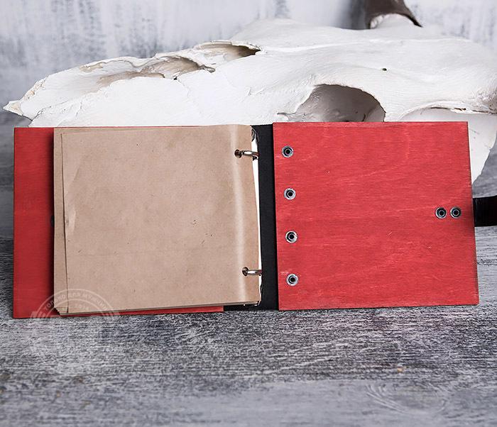 BC127-4 Небольшой деревянный блокнот красного цвета, ручная работа фото 08